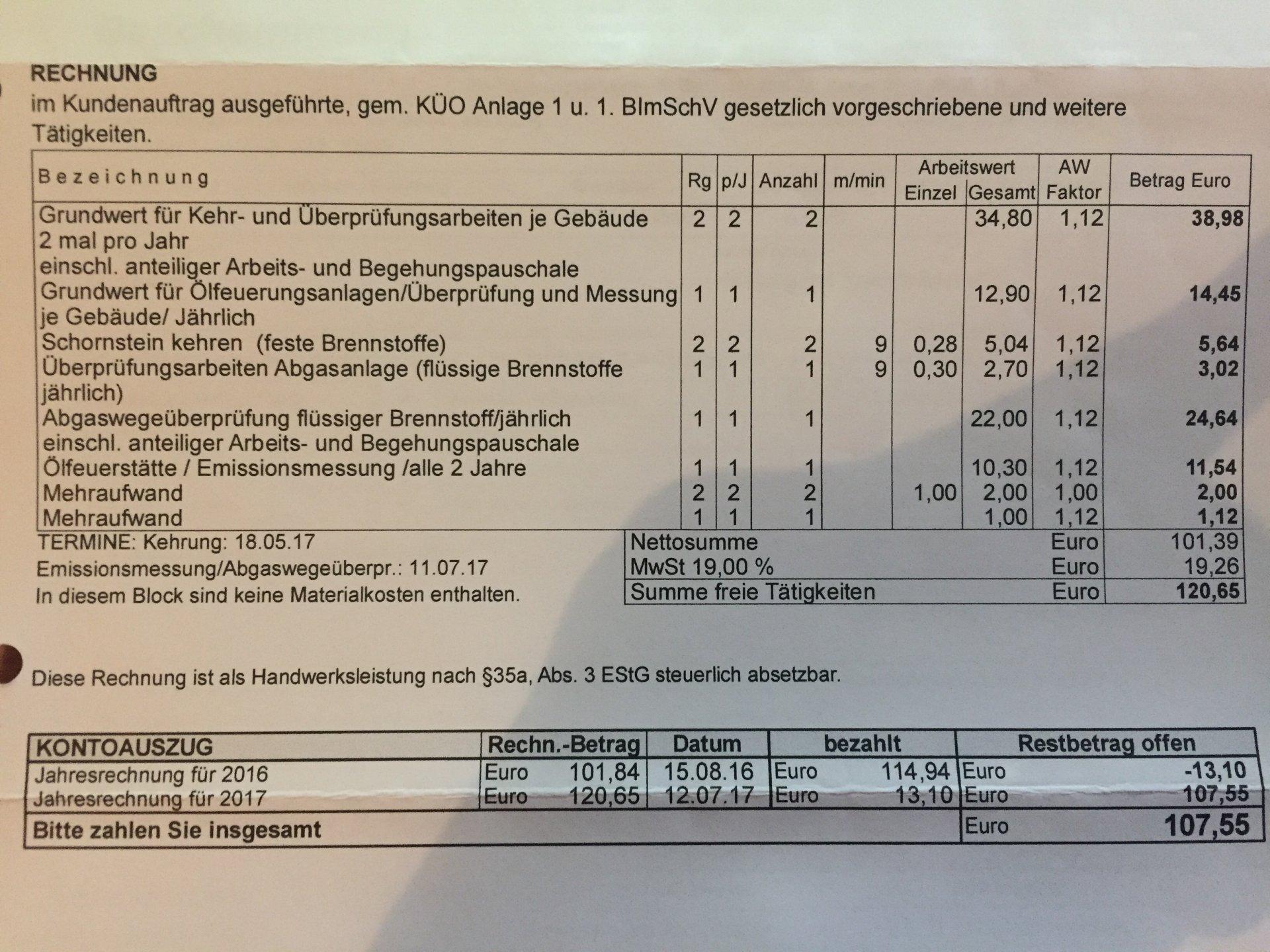 Nebenkostenabrechnung Efh